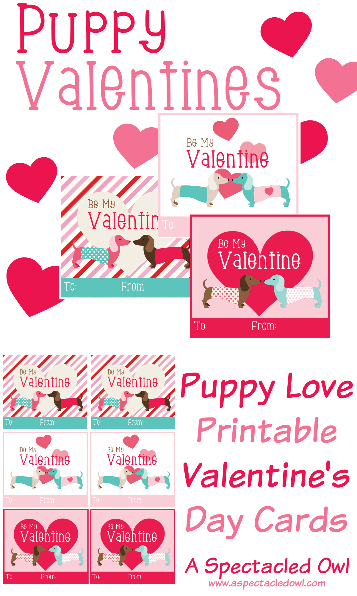 Puppy Love Printable Valentine's Day Cards