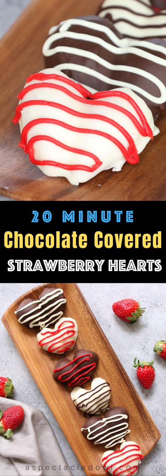 Chocolate Dipped Strawberries are an easy, delicious, beautiful treat that's great for valentine's gift or dessert. In addition to the regular strawberry shape, you can easily turn them into heart-shaped strawberries. Here is a step-by-step guide to how to make chocolate strawberries! #ChocolateCoveredStrawberries #ValentinesDessert
