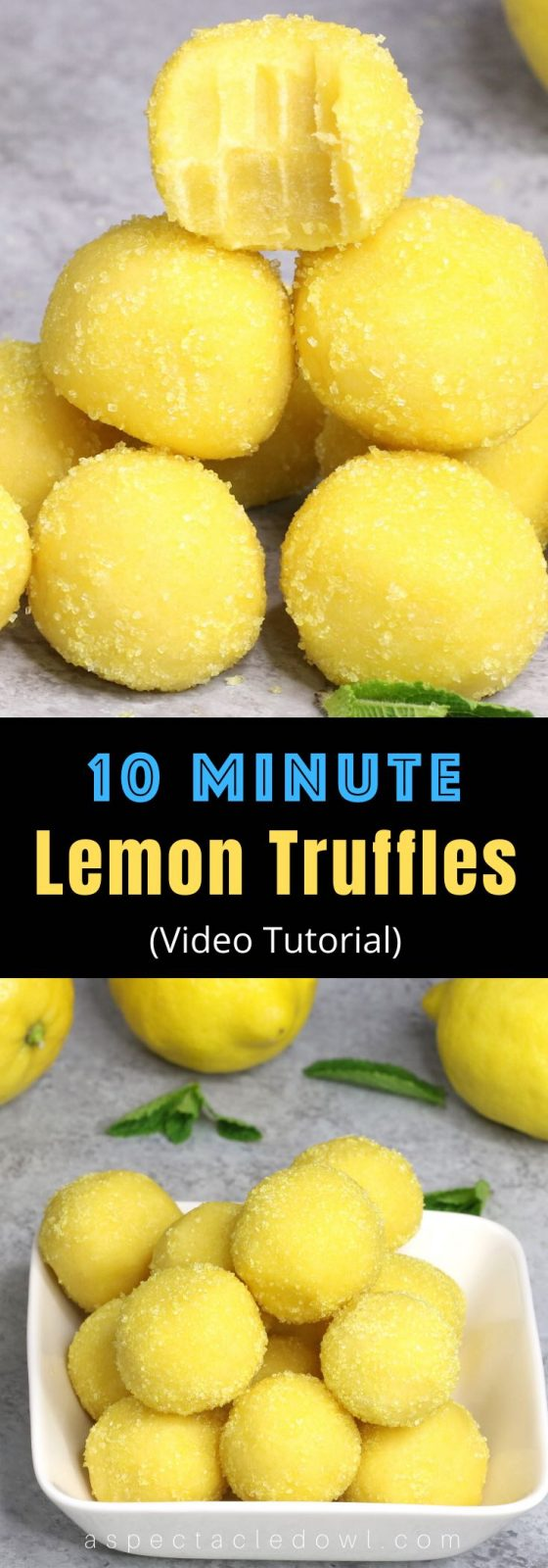 These Homemade Lemon Truffles are tangy, creamy and sweet. All you need is a few simple ingredients. After mixing the cake mix, sugar, butter, and lemon juice together, roll into small balls. #LemonTruffles